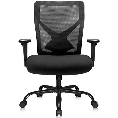 Furmax Big and Tall High Mesh Desk Swivel Conference Adjustable Back and Lumbar Support Ergonomic Computer Home Office Task Chair with Armrest, Black