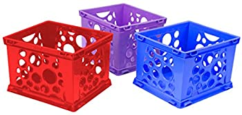 Storex Large Premium File Crate with Solid Bottom Stores Hanging Files Portable Assorted Colors 17.25 x 10.5 x 14.25 Inches 3-Pack  61797U03C
