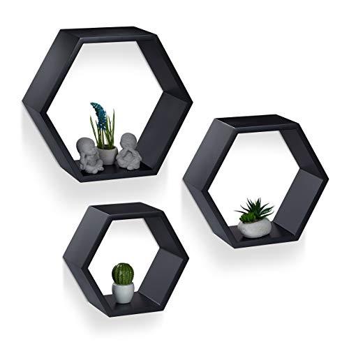 Relaxdays Juego Baldas Pared Grandes Hexagonales