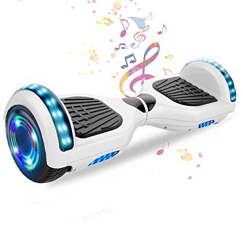 HappyBoard 6,5 Pollici Hoverboard Monopattini Elettrici Autobilanciati Scooter Elettrico Autobilanciante, Ruote da Skateboard con Luce a LED, Motore 700 W Bluetooth per Bambini e Adulti (Bianca)