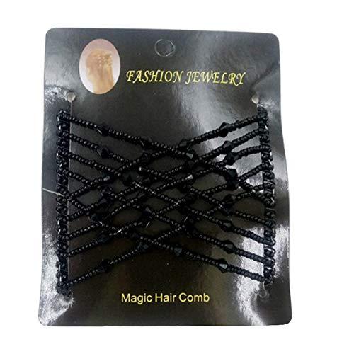 gohigher Peigne à cheveux magique élastique pour femme avec perles et double clip vintage Noir