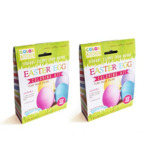 ColorKitchen Easter Egg Coloring Kit (2 Pack) - Plant-based, Naturally Colorful Dyes, Contains Yellow/Orange, Blue and Purple Dyes
