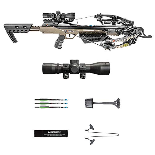 Killer Instinct MSCKI-1001 Rush 380 fps Crossbow Bow Pro Package with 3 Arrow Bolts and Adjustable Foregrip for Archery Hunting Hunters, Camo