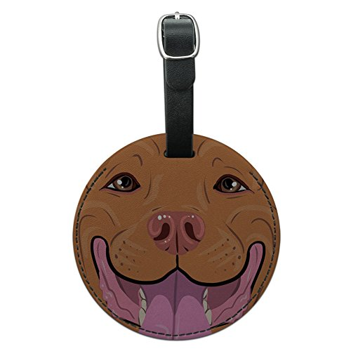 Graphics & More Pit Bull Face Red Nose Pet Dog Round Leather Luggage Id Tag Suitcase Carry-on, Black