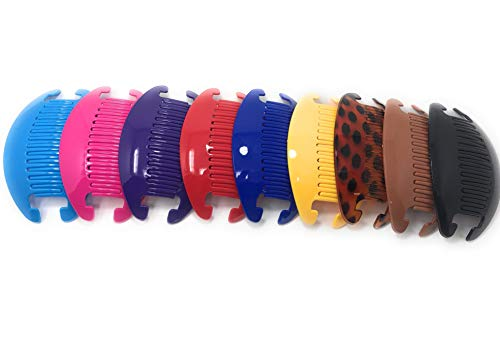 9 set Jumbo Banana Comb Clip Thick Hair Riser Claw Interlocking Jaw Extra (Multi-colored)
