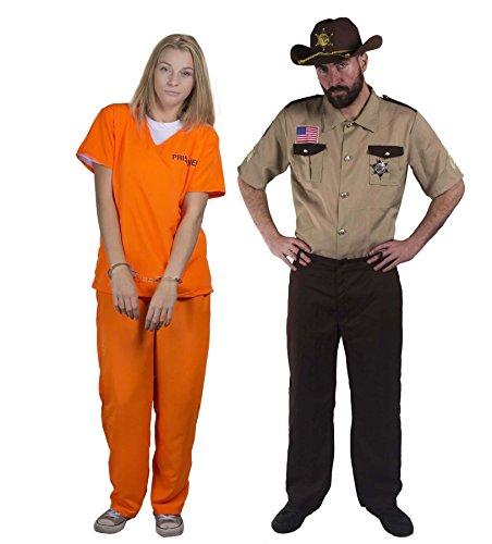 I LOVE FANCY DRESS LTD Sheriff +STRÄFLINGS Paare KOSTÜM VERKLEIDUNG=Freunde Karneval Theme=Fasching-Karneval Halloween JUNGGESELLENABSCHIED = GEFANGENER-XLarge+Sheriff-XLarge