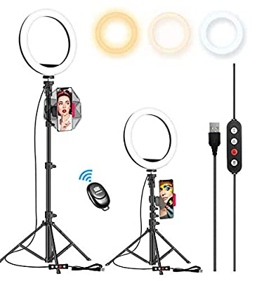 """10.2"""" Selfie Ring Light with 65"""" Adjustable Tripod Stand & Phone Holder for Live Stream/Makeup, Upgraded Dimmable LED Ringlight for Tiktok/YouTube/Zoom/Photography, Compatible with iPhone & Android from Kaiess"""