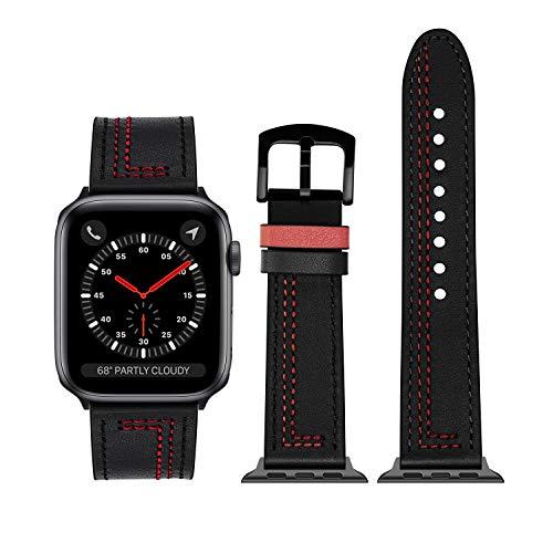 OLAIKE Cinturino in Pelle sostituibile per Apple Watch Series 6/5/4/3/2/1 / SE, Cinturino iWatch Regolabile Morbido, Design alla Moda con Cuciture squisite, Adatto a Tutti(Nero, 38 mm / 40 mm)