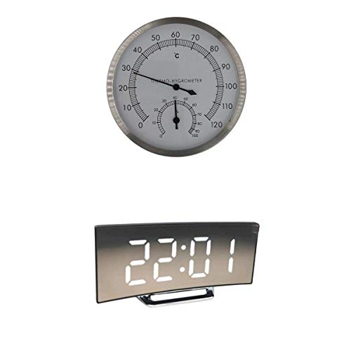 LOVIVER Reloj Despertador Digital LED Espejo Reloj con Termómetro De Sauna De Acero Inoxidable