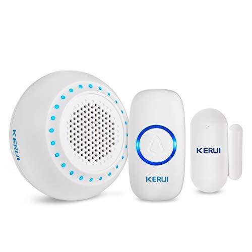 KERUI M523 Timbre Inalámbrico casa con kit alarma Seguridad hogar, DIY Kit Inalámbrico Timbre para Puerta/Ventana con Sensor Puerta/Receptor/Transmisor Impermeable IP55 para Senior/Niño/Mascota