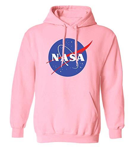 NuffSaid NASA Meatball Logo Worm Hooded Sweatshirt Sweater Pullover - Unisex Hoodie (Medium, Light Pink)