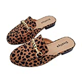 Sivellya Women's Chain Pointed Toe Mules Flats Closed Toe Backless Slides Slip On Slippers Casual Daily Metal Chain Decor Loafers Shoes Leopard, Size 10