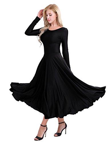 IEFIEL Vestido Princesa Maillot de Danza Ballet para Mujer Chica Vestido Largo de Actuación Fiesta Invierno Otoño Manga Larga Vestido Baile Flemenco Negro A S