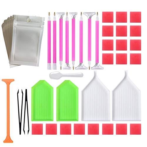 ZFFLYH 56 Piezas de Diamante Herramientas Principiante 5D DIY Diamante Pintura Kits...