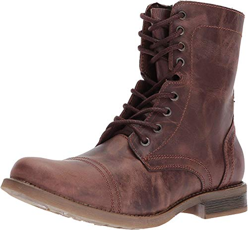 Steve Madden Men's TROOPAH-C Combat Boot, Brown Leather, 10.5 M US