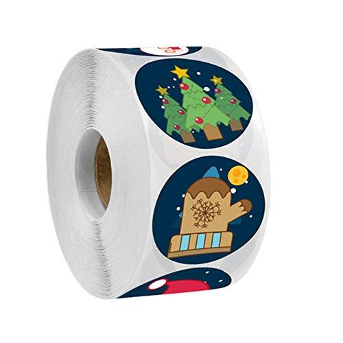 Swide Juletiketter rulle 500 st julgran snögubbe mönster juldekoration icke-giftiga självhäftande etiketter, 2,54 cm för presentaskar kort jul fest tillbehör värt att köpa