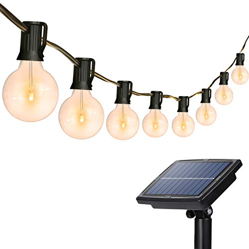 Solar String Lights Outdoor, 26Ft 25 Sockets G40 Hanging Solar Lights,Patio String Lights Commercial Grade, Waterproof for Patio, Yard, Gazebo, Porch, Cafe, Bistro, Outdoors