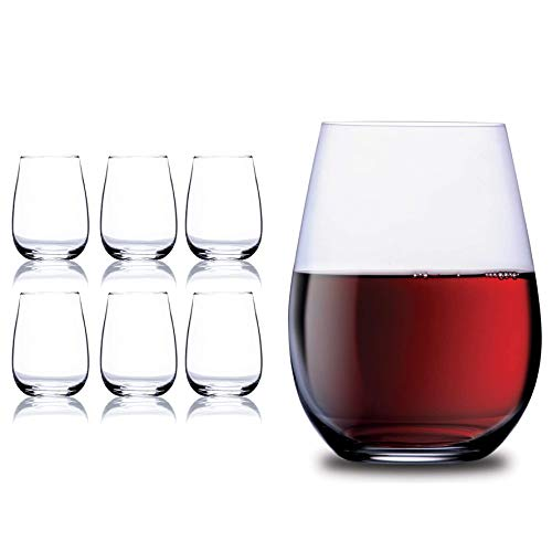 Chef's Star 17 Oz Stemless Wine Glasses, Giant Wine Glass, Stemless Red Wine Glasses or White Wine Glassware, Drinking Glasses for Whisky, Martini, Scotch or Cocktails, Set of 6 - 17 oz