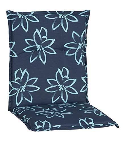 Beo Niedriglehner Auflagen UV-beständig Barcelona | Made in EU nach Öko-Tex Standard | Waschbare Stuhlauflage Niedriglehner mit Halteband | Atmungsaktive Auflagen Niedriglehner mit Blumen in Hell-Blau
