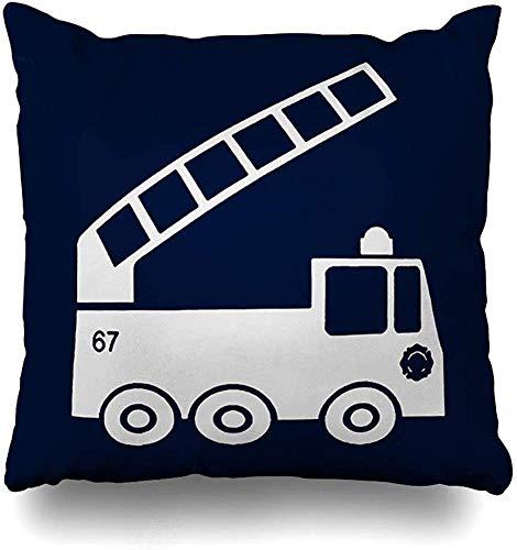 Doble Cojines Fundas 18' Camión de Bomberos en Azul Marino Blanco Funda de Almohada Suave para la Piel