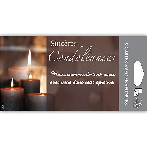 Afie C5256 Pochette de 5 Cartes Sincères Condoléances Nos pensées affectueuses vous soutiennent dans l'epreuve feuilles Décès Deuil Fabriqué en France