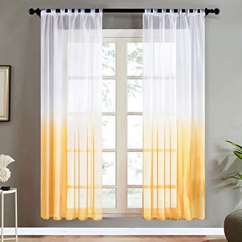 Topfinel Farbverlauf Vorhänge mit Schlaufen Transparente Gardinen Tüll und Voil Schlaufenschal für Fenster Schlafzimmer und Wohnzimmer 2er Set je 245x140cm (HxB) Gelb