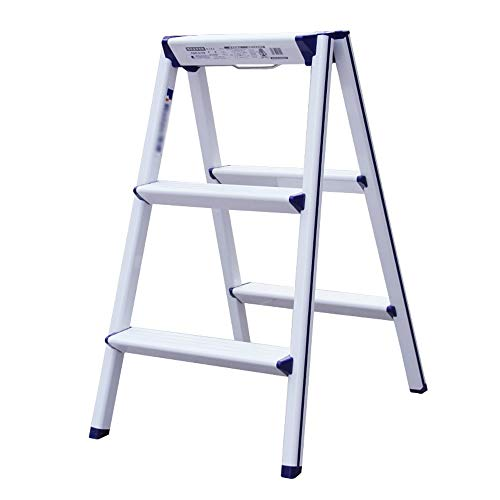 YLQC 3 Step Stool Folding Step Ladder Stepladder with Anti-Slip Sturdy and Wide Pedal for Household and Office,27.5 Inch High,220 lbs (Color : White)