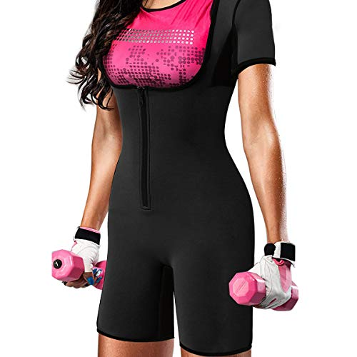 QUAFORT Full Body Shapewear Sauna Suit Neoprene Sweat Bodysuit Gym Shaper with Sleeve