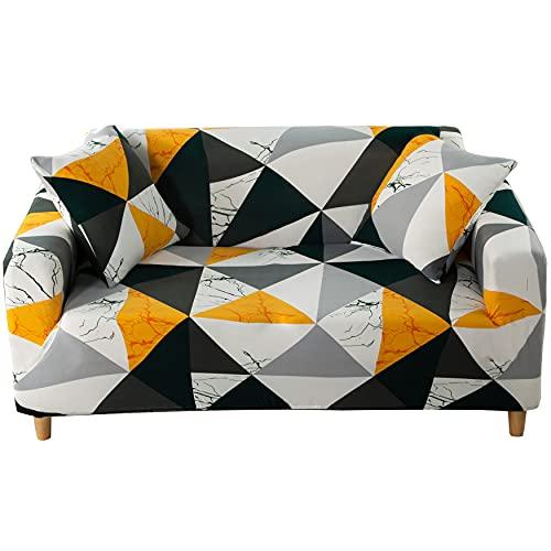 KINGSON Funda de Sofa 1/2/3/4 Plazas, Elastica Funda Sofa Lavable, Antideslizante Cubre Sofa Grande, Impresa Fundas para Sofa de Forma L (Moderno, Funda para Sofá de 3 Plazas: 181-230 cm)
