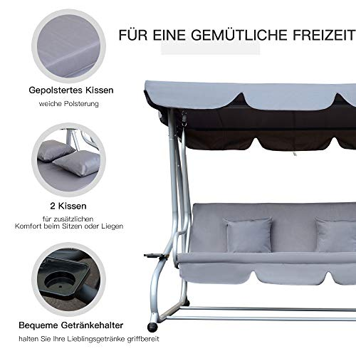 Outsunny Hollywoodschaukel Gartenschaukel 3-Sitzer Liegefunktion Stahl Grau 200x120x164cm - 5