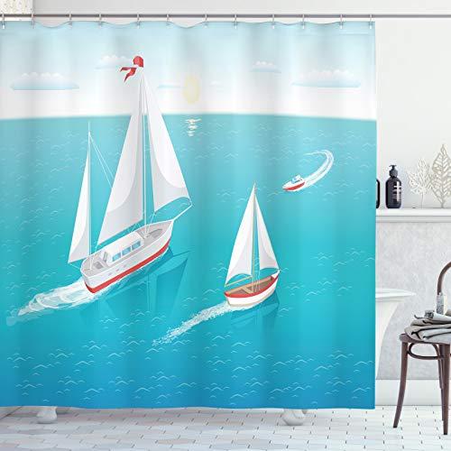 ABAKUHAUS Azul náutico Cortina de Baño, Los Barcos de Vela y Sun, Material Resistente al Agua Durable Estampa Digital, 175 x 200 cm, Mar Azul y Multicolor