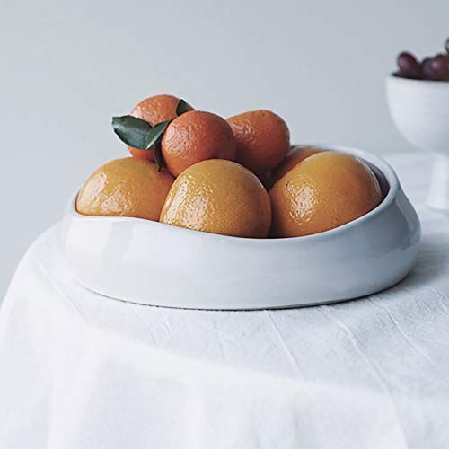 QTQHOME Round Ceramic Fruit Bowl,Large Serving Bowls,Modern Minimalist Porcelain Snack Storage Tray Microwave And Dishwasher Safe Shallow And Versatile-White 20x7cm(8x3inch)