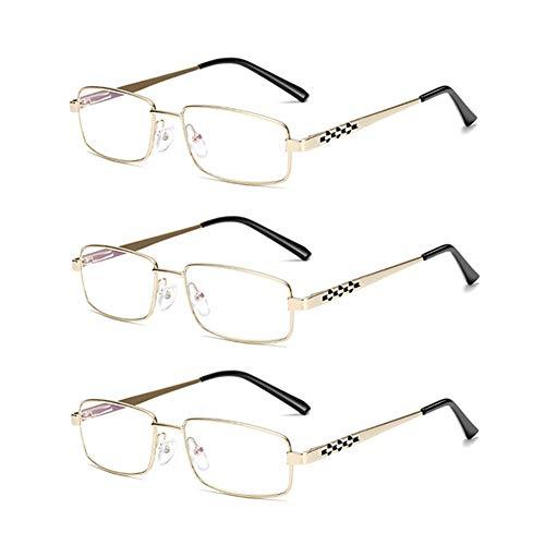 JTeam Lesebrille 3 Paar HD Glaslinse Legierung Rahmen Mode Brillen (Color : Gold, Size : 3.00X)