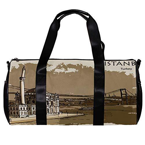 TIZORAX - Bolsa de viaje para mujer y hombre de Estambul Turquía deportes gimnasio bolsa de fin de semana durante la noche bolsa de viaje al aire libre equipaje de mano