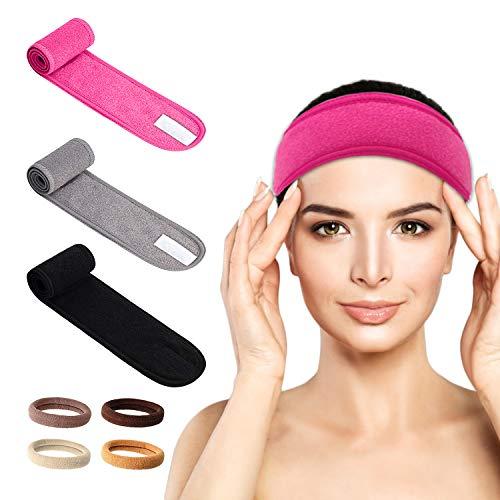 LATTCURE 3 Stück Kosmetik Stirnbänder Frottee, Verstellbar Haarband für Make Up Stirnbänder Spa Stirnband mit Klettverschluss Haarschutzband für SPA Sport Yoga kosmetische Dusche für Damen Mädchen