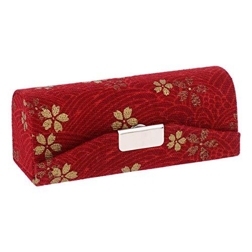 Beaupretty Boîte à Lèvres Brodée Maquillage Portable Étui Brillant Boîte D'emballage Cosmétique Bijoux Porte-Brocart pour Sac à Main Voyage (Rouge)