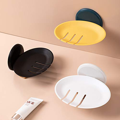Creativee - Juego de 3 jaboneras autoadhesivas para montar en la pared, soporte de jabón autodrenante, bandeja redonda de plástico sin taladrar (amarillo, blanco, negro)