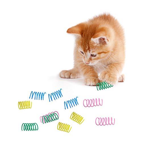 24 Stücke Bunte Frühling Katzen Spielzeug Kunststoff Spule Spiral Frühling Dauerhaft Interaktiv Spielzeug für Katze Kätzchen Haustiere Neuheit Geschenk