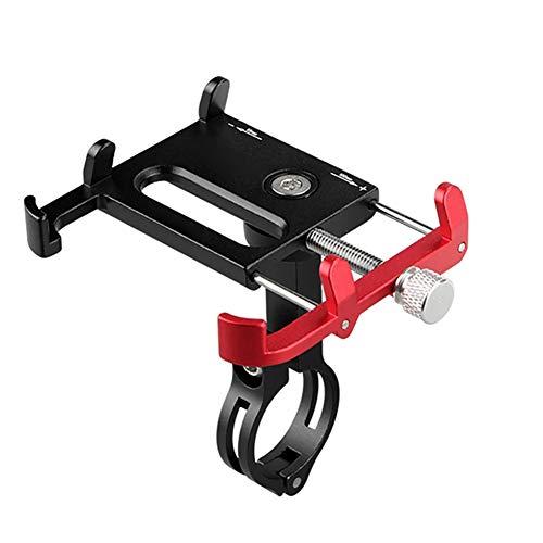 Soporte para teléfono de bicicleta, soporte de aluminio ajustable para teléfono móvil, para smartphone de 3.5-6.2 pulgadas (color: rojo mezclado negro)