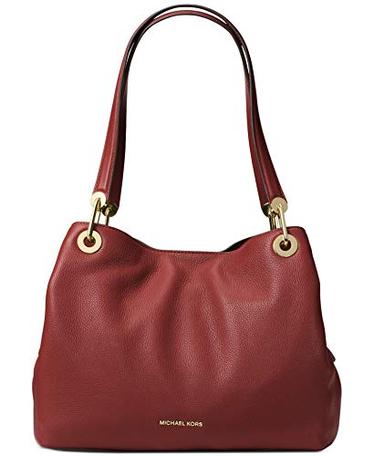 Raven shoulder bag is a stylish, wear-everywhere accessory. In supple pebbled leather, it boasts generous top handles and high-shine hardware. Its spacious design renders it a practical and polished counterpart to day and night looks. Crafted with Br...