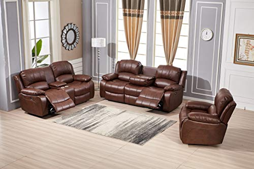 Betsy Furniture Power Reclining Bonded Leather Living Room Set (Brown, Sofa+Loveseat+Chair)