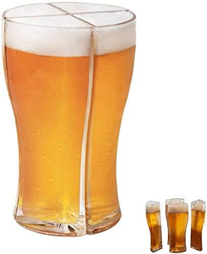 Ousyaah Vasos de cerveza 4 en 1, Vasos de Cristal Super Schooner, Llevar Fácilmente 4 Vasos de Cerveza a la Vez, creativos y Divertidos Tazas de Cerveza de Cristal,4 en 1 Taza de Cerveza