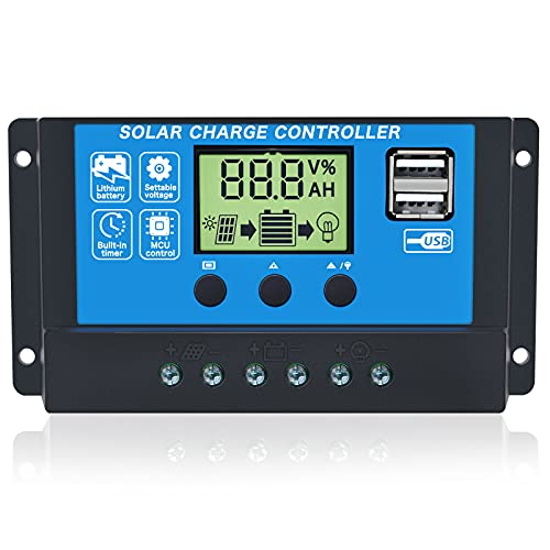 Gdcreestar Solar Charge Controller USB 12V   24V Auto 10A Solar Panel Battery Controller 10Amp PWM Solar Regulator with Dual USB LCD fit for Small Solar System