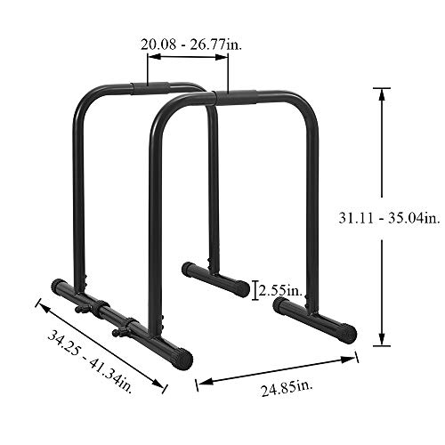 RELIFE REBUILD YOUR LIFE Dip Station Functional Heavy Duty Dip Stands Fitness Workout Dip bar Station Stabilizer Parallette Push Up Stand (Black)