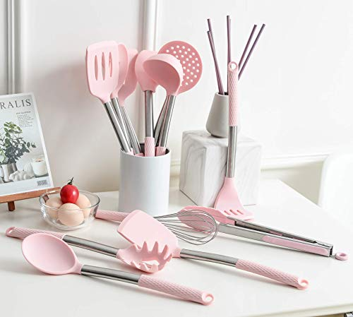 Rorence Kitchen Utensil Cooking Utensil Set for Baking Mixing: 12 Pieces Kitchen Gadgets Non-Stick & Heat Resistance Silicon and Stainless Steel Handles (Utensil Holder Not Included) - Pink