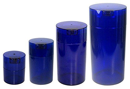 Tightvac Imbriquées Lot de 4 boîtes de Rangement Emballé sous Vide Marchandises sèches, 4 Tailles différentes : 680,4 Gram, 340,2 Gram, 170,1 Gram, 85 Gram, Cobalt teinté Corps/Bouchon