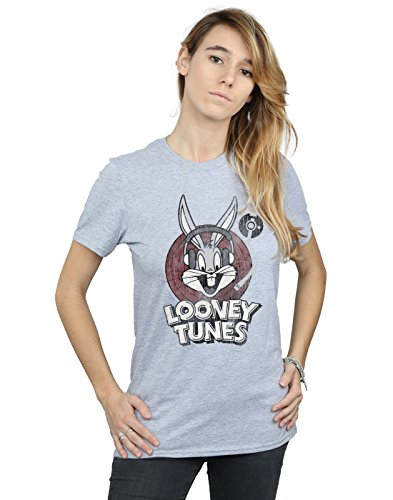 Absolute Cult Looney Tunes Mujer Bugs Bunny Circle Logo Camiseta del Novio Fit Deporte Gris Large