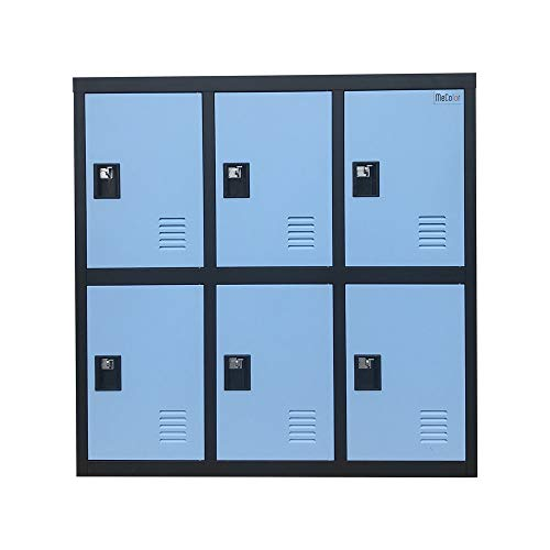 MECOLOR-Metal Kids Locker for Girls Bedroom and Playroom Storage for Clothes,Bags,Toys and Book (Blue, W6D-Padlock)