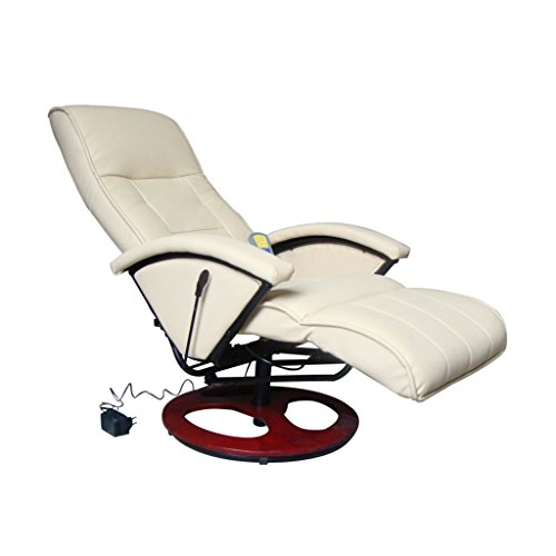 Festnight Fauteuil de Massage et de Relaxation Electrique Fauteuil Relaxation massant (Crème)