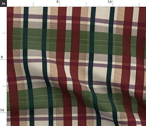 Spoonflower Fabric - Plaid Green Holiday Classic Traditional Christmas Tartan Burgundy Printed on Upholstery Velvet Fabric by The Yard - Upholstery Home Decor Bottomweight Apparel